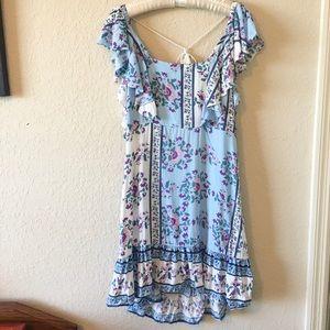 Blue Floral Tassel Open Back German Style Dress